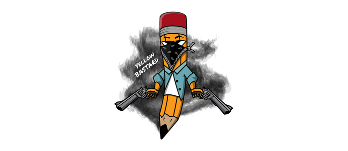 Gangsta pencil with guns illustration. Yellow pen with bandana mask on face, criminal t-shirt print. Coffee Mug