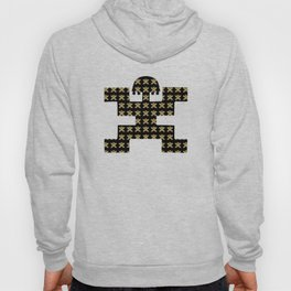 Digital Rendering of Pre-Columbian Pectoral Pattern in Gold Leaf on Black Hoody