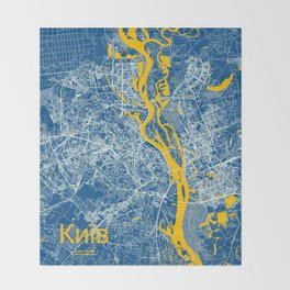 Kiev, Ukraine street map Throw Blanket