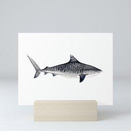 TIGER SHARK-navy blue Mini Art Print