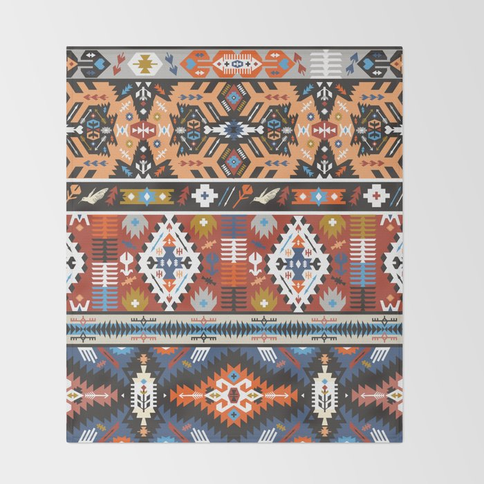 Fancy abstract geometric vector pattern in tribal style.cdr Throw Blanket