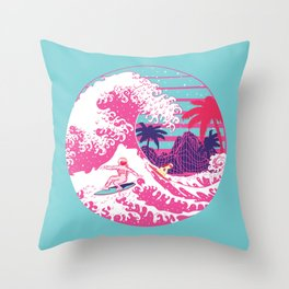 Spaceman surfing The Great pink wave Throw Pillow