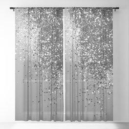 Sparkling Silver Gray Lady Glitter #1 #shiny #decor #art #society6 Sheer Curtain