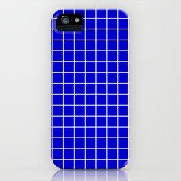 Medium blue - blue color - White Lines Grid Pattern iPhone Case