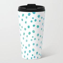 Small Blue Watercolor Abstract Polka Dots Travel Mug