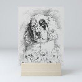 English Setter puppy Black and white portrait Mini Art Print