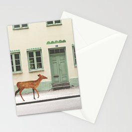 Deer in town Stationery Cards