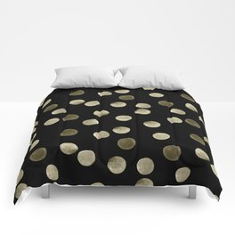 Watercolor . Olive green polka dots on black . Comforters
