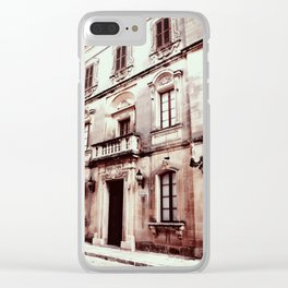 Building in Valletta-Sepia Clear iPhone Case