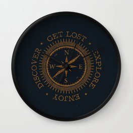 GET LOST EXPLORE DISCOVER ENJOY  Wall Clock