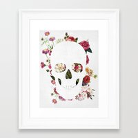 Framed Art Prints featuring Skull Grunge Flower 2 by Francisco Valle