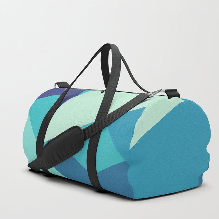 Retro Blue Mid-century Minimalist Geometric Line Abstract Art 1 Duffle Bag