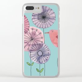 """Birdy blue """"Speak to me!"""" Clear iPhone Case"""