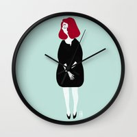 marylin monroe Wall Clocks featuring Marylin by Charline Denys