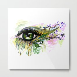 Green eye with sakura Metal Print