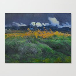Louis Patru - Landscape - 1895-1905 Wheat Field blowing Wind Storm Clouds Canvas Print