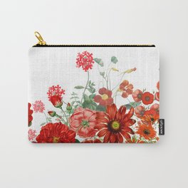 Vintage & Shabby Chic - Red Summer Flower Garden Carry-All Pouch