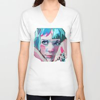 grimes V-neck T-shirts featuring Grimes by Tiffany Baxter
