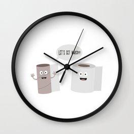 Toilet roll tissue cartoon Wall Clock