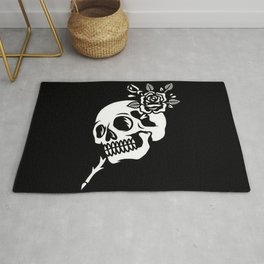 Tattoos style skull and flower Rug
