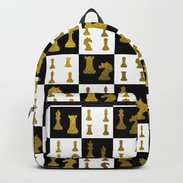 Chessboard and Gold Chess Pieces pattern Backpack