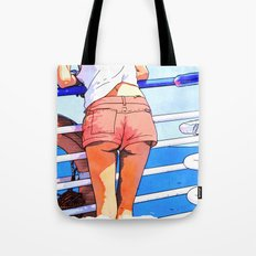 a girl on the boat Tote Bag