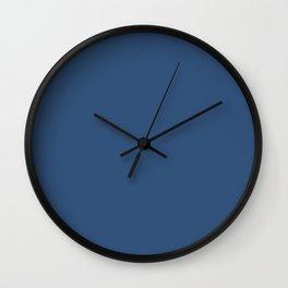 Metallic Blue - solid color Wall Clock