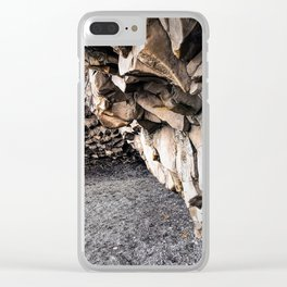Cave at Reynishverfi Black Sand Beach on the Southern Coast of Iceland (1) Clear iPhone Case