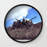 forrest Wall Clocks featuring Christmas forrest by Shitmonkey