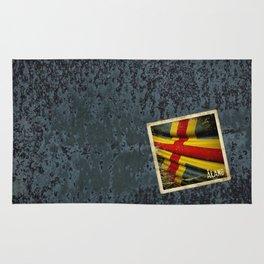 Grunge sticker of Aland Islands flag Rug