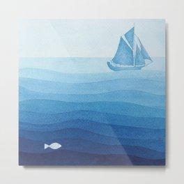 Lonely sailing ship Metal Print