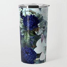 Vintage & Shabby Chic - Blue Winter Roses Travel Mug