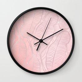 Rose Gold Glitter Banana Leaves Artwork Wall Clock