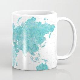 Highly detailed watercolor world map in aquamarine Coffee Mug