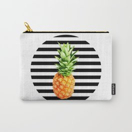 Pineapple, black stripes, kitchen poster, garden poster, rounded Carry-All Pouch