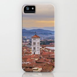 Aerial View Historic Center of Lucca, Italy iPhone Case