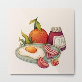 Breakfast, egg and bacon. Food illustration Metal Print