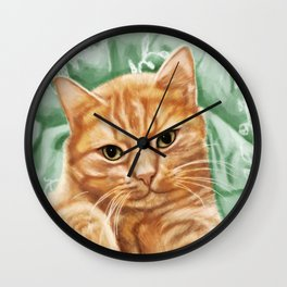 Soft and Purry Orange Tabby Cat Wall Clock