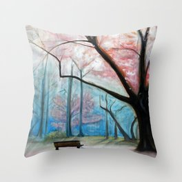 Trees pink and blue Throw Pillow
