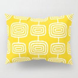 Mid Century Modern Atomic Rings Pattern Yellow Pillow Sham