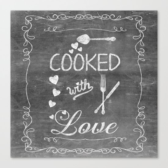 Cooked with Love Retro Chalkboard Sign Canvas Print