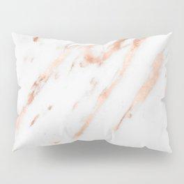 Pink Quartz Marble Rose Gold White Pillow Sham