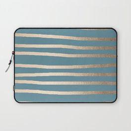 Abstract Drawn Stripes Gold Tropical Ocean Blue Laptop Sleeve