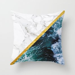 Wild Glamour - slicing marble, gold and ocean waves Throw Pillow