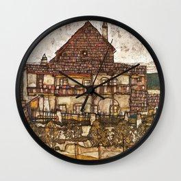 Egon Schiele - House with Shingle Roof, 1915 Wall Clock