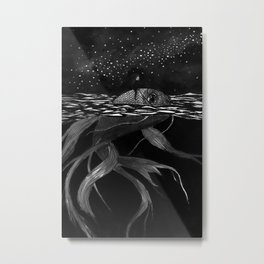 Riding a fish Metal Print