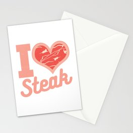 I Love Steak Meat Pork Food Lover Barbecue Beef Ham Design Stationery Cards
