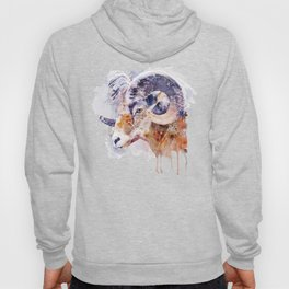 Bighorn Sheep watercolor portrait Hoody