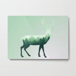 Deer Stag Elk Roe Fawn Moose Double Exposure Surreal Wildlife Animal Metal Print
