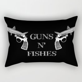 Guns n' Fishes black Rectangular Pillow